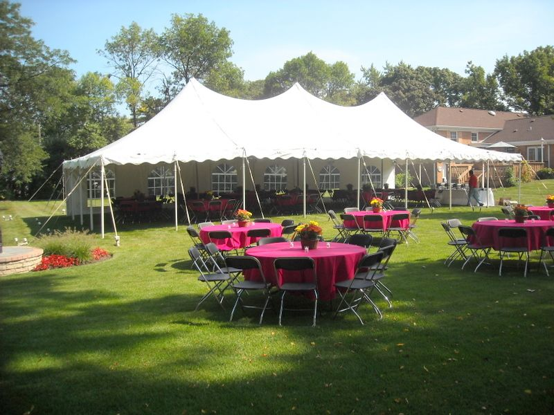 30 x 60 Backyard Party Tent with rental chairs and tables