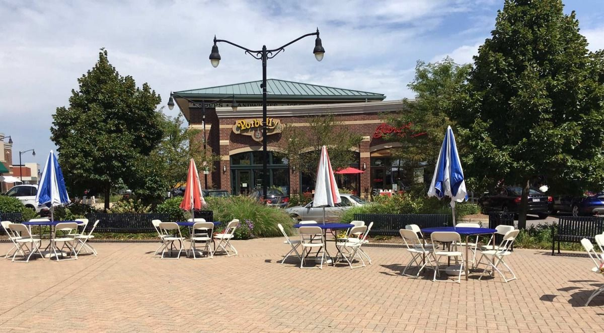 Arlington Heights, Illinois Festive Umbrella Tables