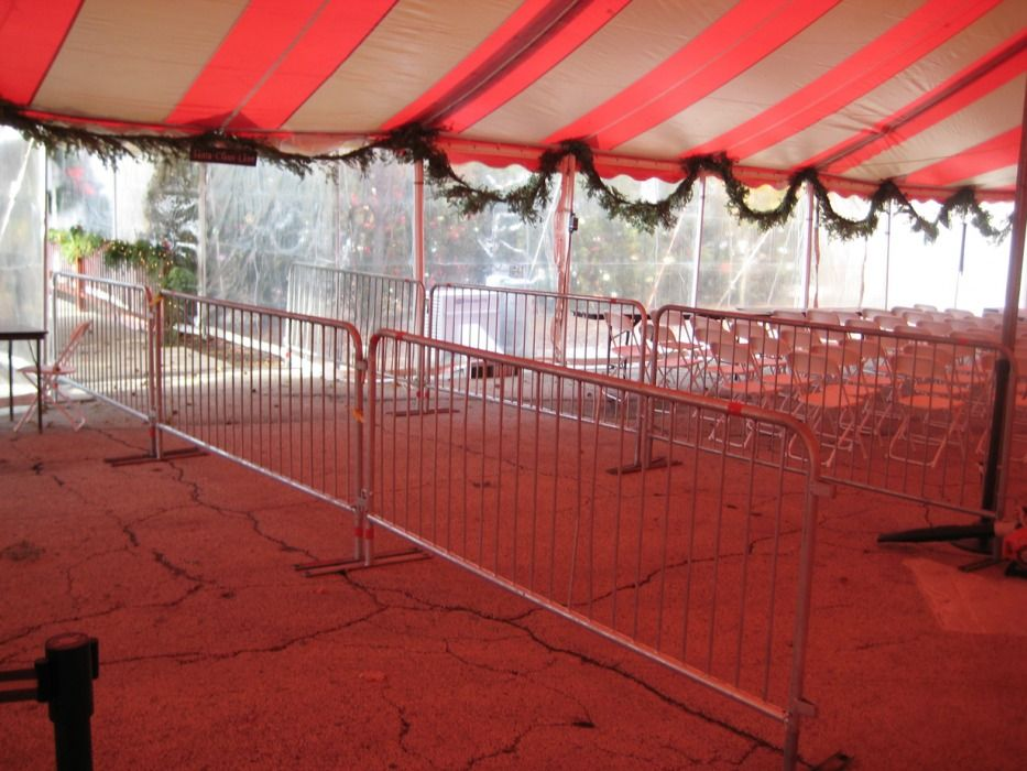 Metal barricades – entrance to tent - Arlington Heights, 60004